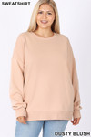 Front image of Dusty Blush Cotton Round Crew Neck Plus Size Sweatshirt with Side Pockets