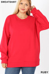 Front image of Ruby Cotton Round Crew Neck Plus Size Sweatshirt with Side Pockets