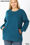 Front image of Teal Cotton Round Crew Neck Plus Size Sweatshirt with Side Pockets