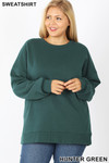 Front image of Hunter Green Cotton Round Crew Neck Plus Size Sweatshirt with Side Pockets