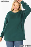 Front image of Deep Green Cotton Round Crew Neck Plus Size Sweatshirt with Side Pockets