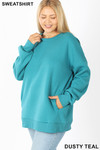 45 degree image of  Dusty Teal Cotton Round Crew Neck Plus Size Sweatshirt with Side Pockets