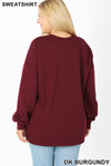Back image of Dark Burgundy Cotton Round Crew Neck Plus Size Sweatshirt with Side Pockets