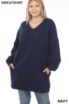 Front image of Navy Oversized V-Neck Longline Plus Size Sweatshirt with Pockets