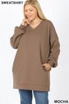 Front image of Mocha Oversized V-Neck Longline Plus Size Sweatshirt with Pockets