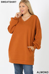 Front image of Almond Oversized V-Neck Longline Plus Size Sweatshirt with Pockets