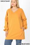 Front image of Ash Mustard Oversized V-Neck Longline Plus Size Sweatshirt with Pockets