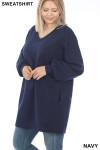 Slightly turned image of Navy Oversized V-Neck Longline Plus Size Sweatshirt with Pockets