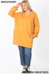 Full body image of Light Mustard Oversized V-Neck Longline Plus Size Sweatshirt with Pockets