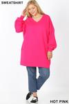 Full body image of Hot Pink Oversized V-Neck Longline Plus Size Sweatshirt with Pockets