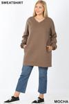 Full body image of Mocha Oversized V-Neck Longline Plus Size Sweatshirt with Pockets