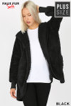 Front Image of Black Faux Fur Hooded Cocoon Plus Size Jacket with Pockets