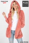 Front Image of Ash Rose Faux Fur Hooded Cocoon Plus Size Jacket with Pockets