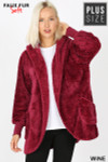 Front Image of Wine Faux Fur Hooded Cocoon Plus Size Jacket with Pockets