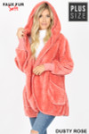 Front Image of Dusty Rose Faux Fur Hooded Cocoon Plus Size Jacket with Pockets showing hood up