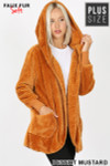 Front Image of Desert Mustard Faux Fur Hooded Cocoon Plus Size Jacket with Pockets showing hood up