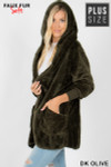 Left side image of Dark Olive Faux Fur Hooded Cocoon Plus Size Jacket with Pockets
