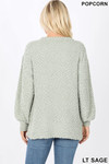 Back image of Sage Popcorn Balloon Sleeve Round Neck Pullover Sweater
