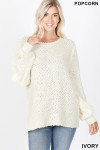 Front image of Ivory Popcorn Balloon Sleeve Round Neck Pullover Sweater