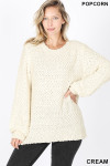 Front image of Cream Popcorn Balloon Sleeve Round Neck Pullover Sweater