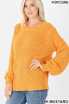 Front image of Ash Mustard Popcorn Balloon Sleeve Round Neck Pullover Sweater