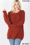 Front image of Dark Rust Popcorn Balloon Sleeve Round Neck Pullover Sweater