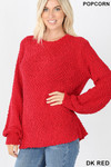 Front image of Dark Red Popcorn Balloon Sleeve Round Neck Pullover Sweater