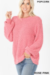 Front image of Rose Pink Popcorn Balloon Sleeve Round Neck Pullover Sweater