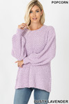 Front image of Dusty Lavender Popcorn Balloon Sleeve Round Neck Pullover Sweater