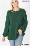 Front image of Dark Green Popcorn Balloon Sleeve Round Neck Pullover Sweater
