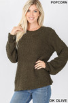 Front image of Dark Olive Popcorn Balloon Sleeve Round Neck Pullover Sweater