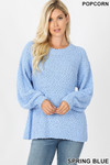 Front image of Spring Blue Popcorn Balloon Sleeve Round Neck Pullover Sweater