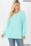 Front image of Mint Popcorn Balloon Sleeve Round Neck Pullover Sweater