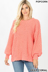 Front image of Deep Coral Popcorn Balloon Sleeve Round Neck Pullover Sweater