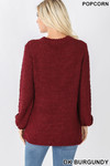 Back image of Dark Burgundy Popcorn Balloon Sleeve Round Neck Pullover Sweater