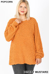 Front image of Desert Mustard Popcorn Balloon Sleeve Round Neck Plus Size Pullover Sweater