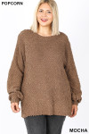 Front image of Mocha Popcorn Balloon Sleeve Round Neck Plus Size Pullover Sweater