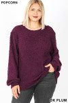 Front image of Dark Plum Popcorn Balloon Sleeve Round Neck Plus Size Pullover Sweater