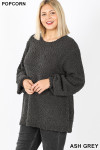 45 degree image of Ash Grey Popcorn Balloon Sleeve Round Neck Plus Size Pullover Sweater