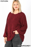 45 degree  image of Dark Burgundy Popcorn Balloon Sleeve Round Neck Plus Size Pullover Sweater