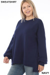 Left side view of Navy Round Neck Hi-Low Hem Plus Size Sweatshirt