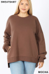 Front view of Mocha Round Neck Hi-Low Hem Plus Size Sweatshirt