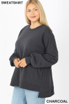 Left side image of Charcoal Round Neck Hi-Low Hem Plus Size Sweatshirt