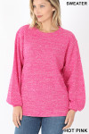 Front image of Hot Pink Balloon Sleeve Melange Sweater