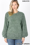 Front image of Hunter Green Balloon Sleeve Melange Sweater