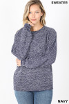 Front image of Navy Balloon Sleeve Melange Sweater