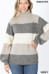Front image of Grey Color Block Striped Turtle Neck Balloon Sleeve Sweater