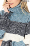 Close up of Color Block Striped Turtle Neck Balloon Sleeve Sweater