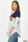 Left side view of Navy Color Block V-Neck 3/4 Sleeve Plus Size Top with Front Pocket
