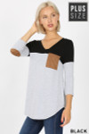 Front of Black Color Block V-Neck 3/4 Sleeve Plus Size Top with Front Pocket